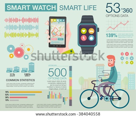 Infographic with charts, icons, diagrams. How people use smartwatch and smartphone. Modern technology equipment for monitoring health. Man on bike go to work. Vector illustration, flat modern style - stock vector
