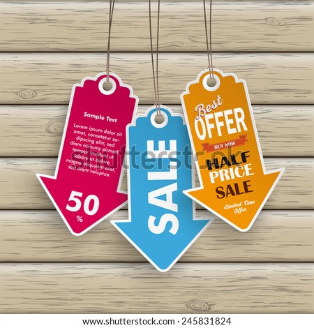 Infographic with colored price stickers arrow on the wooden background.  Eps 10 vector file. - stock vector