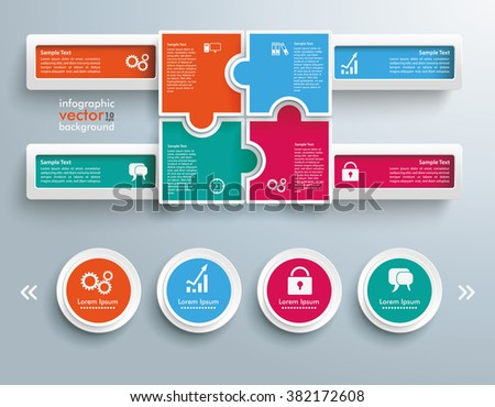 Infographic with colored rectangle puzzle pieces on the gray background. Eps 10 vector file. - stock vector