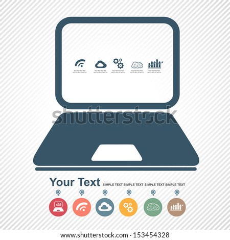 infographic with desktop computer  - stock vector