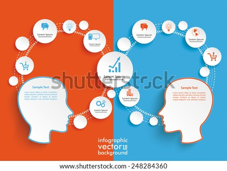 Infographic with 2 heads on the colored background. Eps 10 vector file. - stock vector