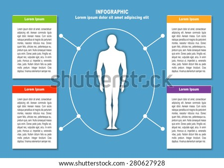 Infographic with man and  4 options. Vector illustration for web design, documents, fliers and posters - stock vector
