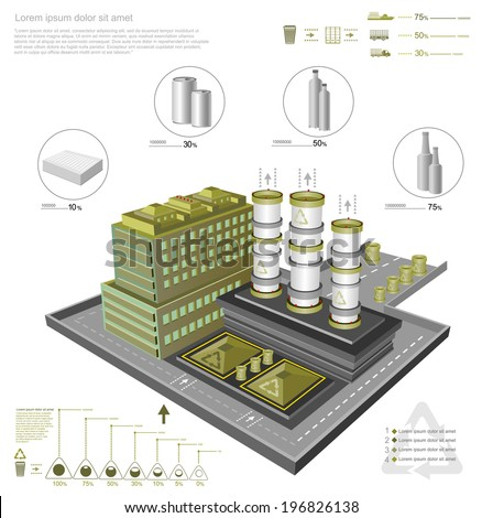infographic with recycling factory and processing facilities - stock vector