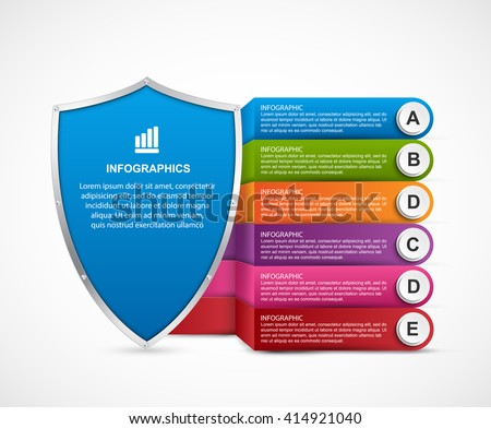 Infographic with security shield. - stock vector