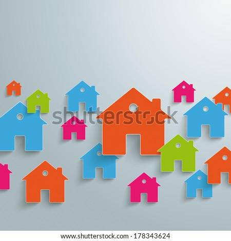 Infographic with white houses on the grey background. Eps 10 vector file.