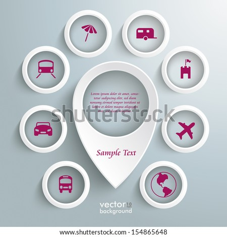 Infographic with white location marker on the grey background. Eps 10 vector file. - stock vector