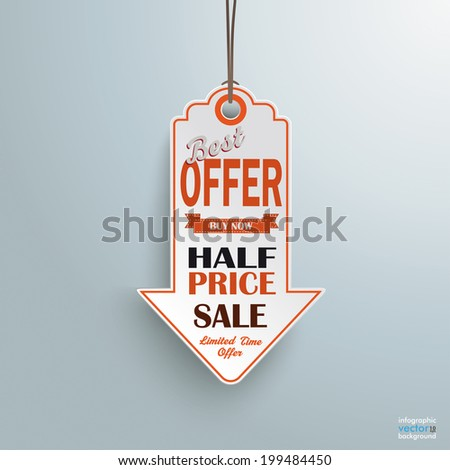 Infographic with white price sticker arrow on the grey background.  Eps 10 vector file. - stock vector
