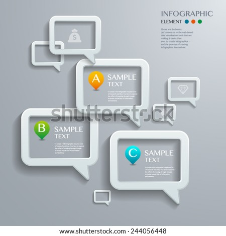Infographic with white Speech bubble on the grey background. Eps 10 vector file - stock vector