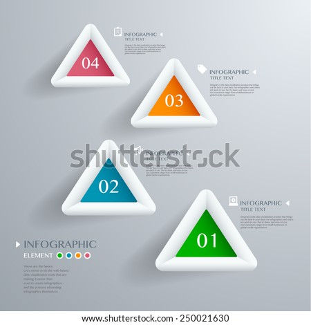 Infographic with white Triangle on the grey background. Eps 10 vector file - stock vector