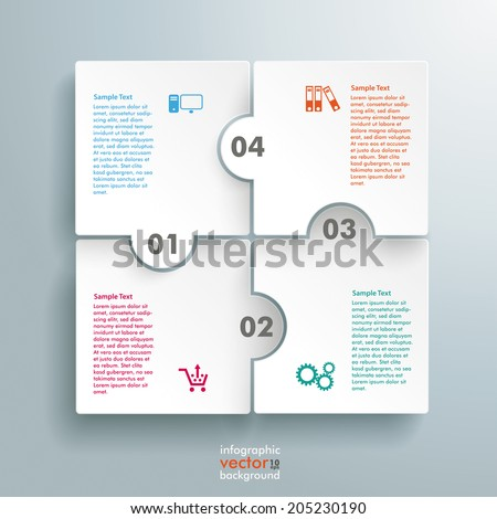 Infographic withrectangle puzzle pieces on the grey background. Eps 10 vector file. - stock vector