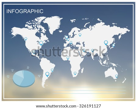 Infographic world map.Infographic world map on blurred background.Vector illustration.