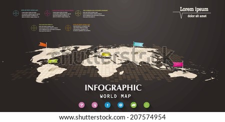 Infographic world map with flag-pointers and web icons - stock vector