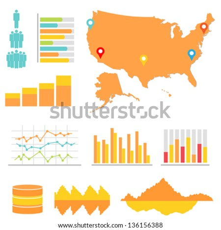 Infographics and statistics with US map