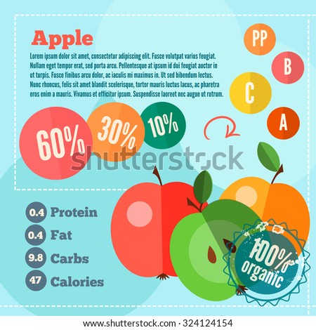 Infographics apple and vitamins in flat style. Vector illustration for shops, market place and food banners.