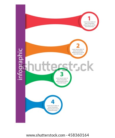 Infographics as a rectangle and four circles in the form of ladder - stock vector