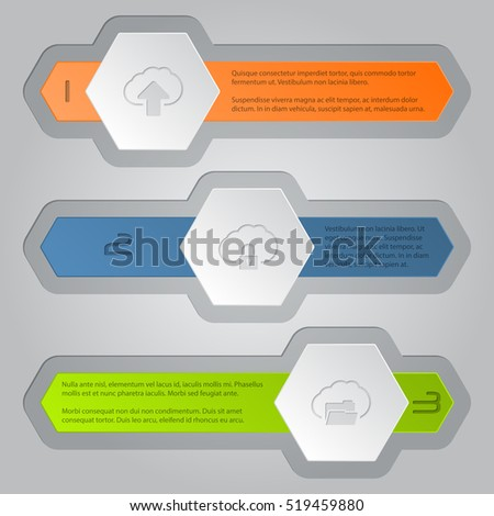 Infographics background design with hexagon elements and cloud icons
