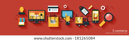 infographics background E-commerce. Business concept. Set icons - stock vector