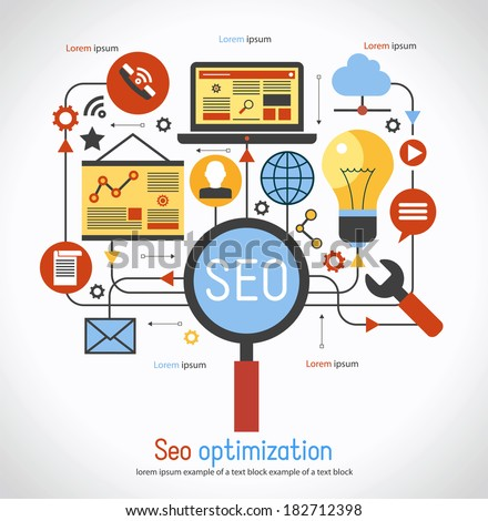 infographics background seo optimization. SEO concept. Set icons - stock vector