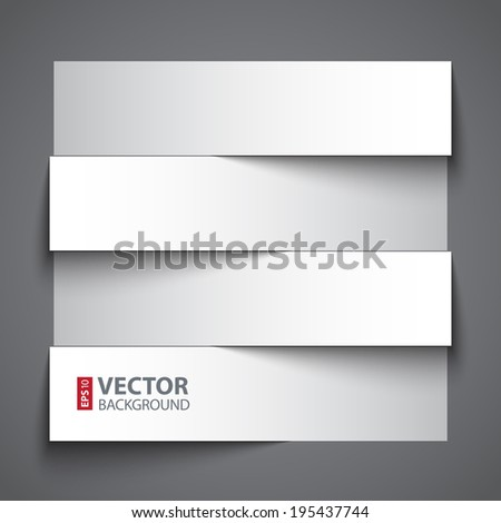 Infographics blank paper stripe banners with shadows on dark grey background. RGB EPS 10 vector illustration - stock vector