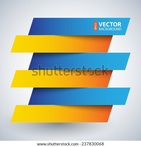 Infographics blue and orange paper rectangle banners with shadows on white background. RGB EPS 10 vector illustration - stock vector