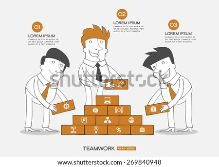 Infographics business background. Concept teamwork. Business people building the wall surrounded by business icons, text. - stock vector