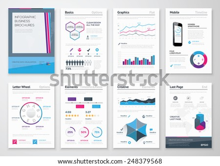 Infographics business brochures for corporate data visualization. Big set of modern infographic vector elements for web, print, magazine, flyer, brochure, media, marketing and advertising concepts. - stock vector