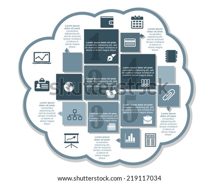 Infographics business design with chart, wallet, money, calendar, diary, files, handshake, briefcase, news, books, graph, pen and pie chart  - stock vector