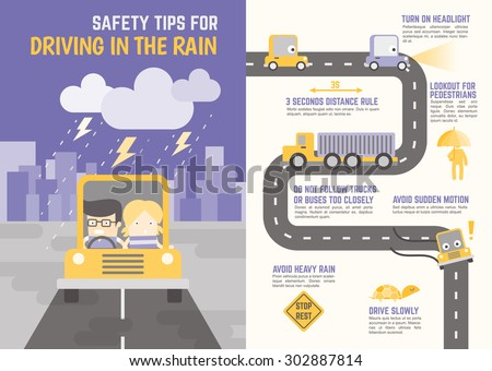 infographics cartoon character about safety tips for driving in the rain - stock vector