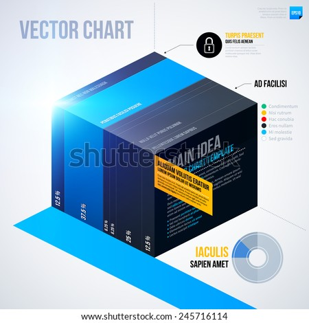 Infographics chart template with isometric cube. EPS10 - stock vector