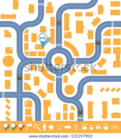 Infographics City Map. Vector Set Eps10  Blank Road Map