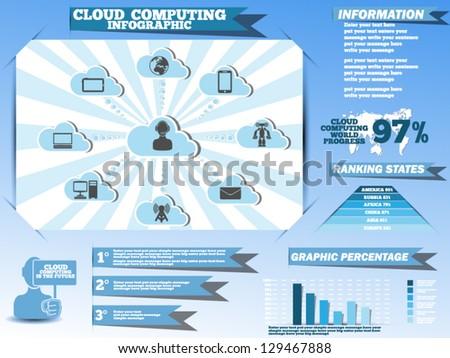 INFOGRAPHICS CLOUD COMPUTING - stock vector