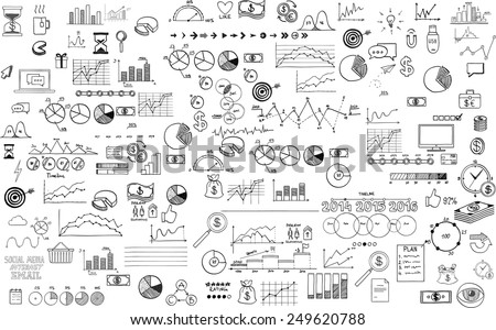 infographics collection hand drawn doodle sketch business ecomomic finance elements - stock vector
