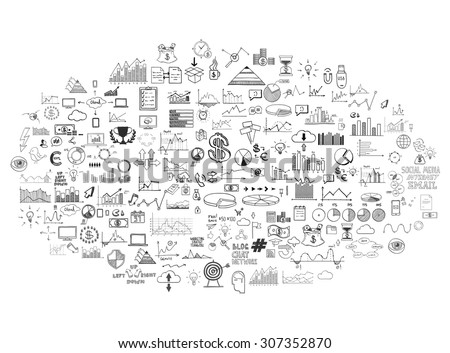 infographics collection hand drawn doodle sketch business ecomomic finance elements. - stock vector
