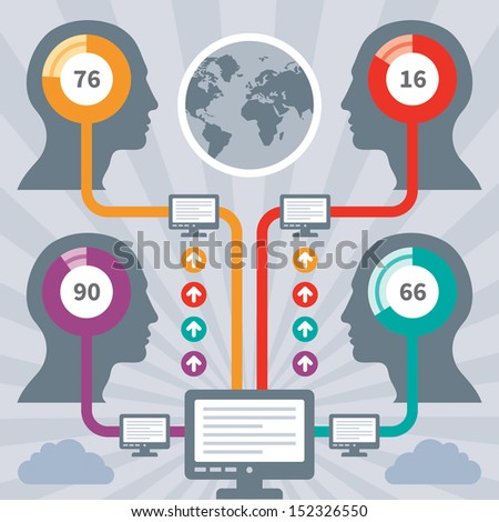 Infographics Concept with a Human Heads & Computers - stock vector