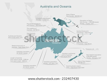 infographics continent Australia and Oceania blue and gray - stock vector