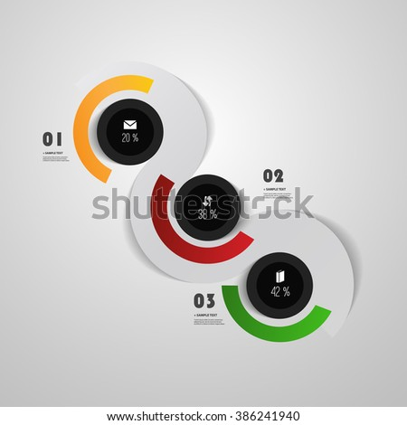 Infographics Cover - Colorful Circle Designs with Icons - stock vector