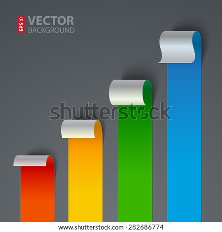 Infographics curled colorful paper stripe banners chart on gray background. RGB EPS 10 vector illustration - stock vector