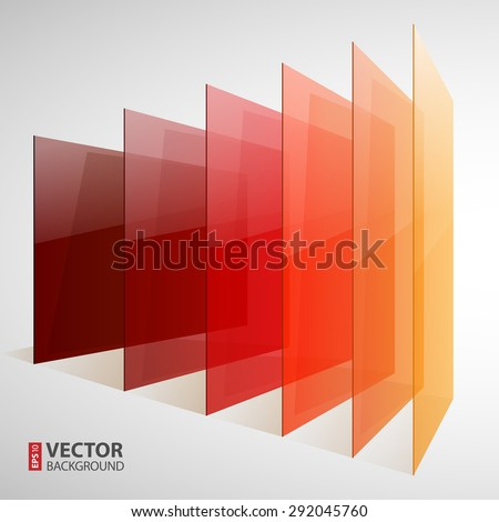 Infographics 3d perspective red, orange and yellow abstract shiny rectangles on white background. RGB EPS 10 vector illustration - stock vector