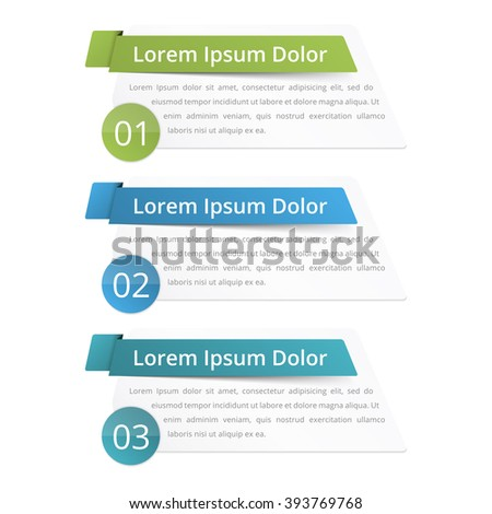 Infographics design elements with place for numbers (steps or options) titles and text, vector eps10 illustration - stock vector