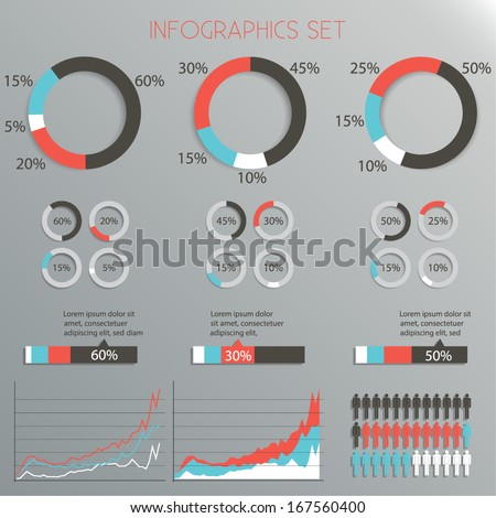 Infographics Design Set - pie chart, graph, people - Vector EPS10  - stock vector