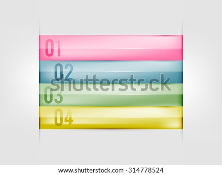 Infographics design template. Numbered banners. Creative ribbon paper style. - stock vector