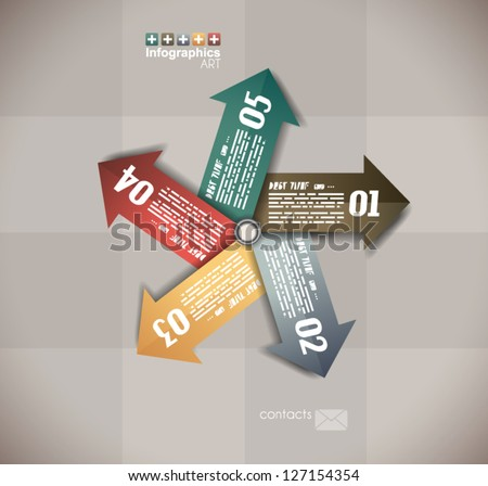 Infographics Design Template with 5 arrows with space for text. Paper effect with delicate shadows. - stock vector