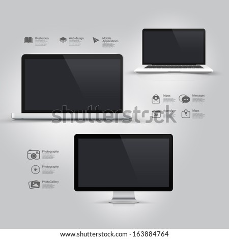 Infographics Design UI Elements: Informatic equipment: Computer, Notebook, Monitor and icons set.  - stock vector