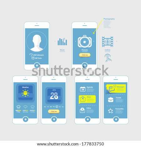 Infographics design UI Elements: Mobile Gui blueprints. Collection of colorful flat kit UI  - stock vector