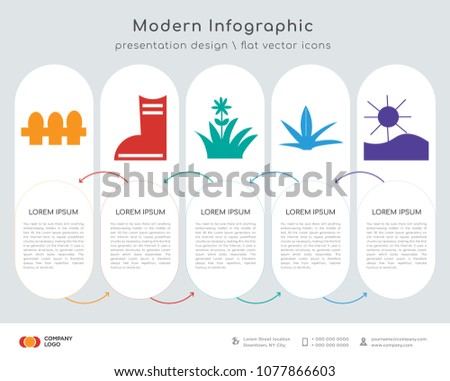 Infographics design vector fence shoes flower stock vector infographics design vector and fence shoes flower grass sun icons can be ccuart Image collections
