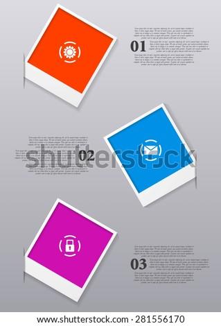 Infographics design with Polaroid frames. Vector illustration - stock vector