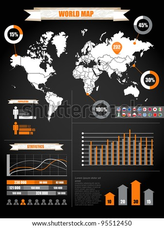 Infographics. Earth map and different charts on black - stock vector