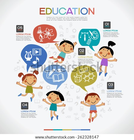 Infographics education background. Cartoon children with speech bubble surrounded by icons of education, text and numbers.