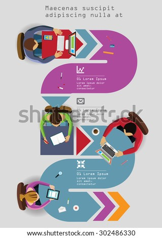 Infographics Element -  Top View on Chart with People. Vector illustration. - stock vector