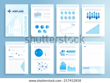 Infographics elements airplane report brochure - stock vector